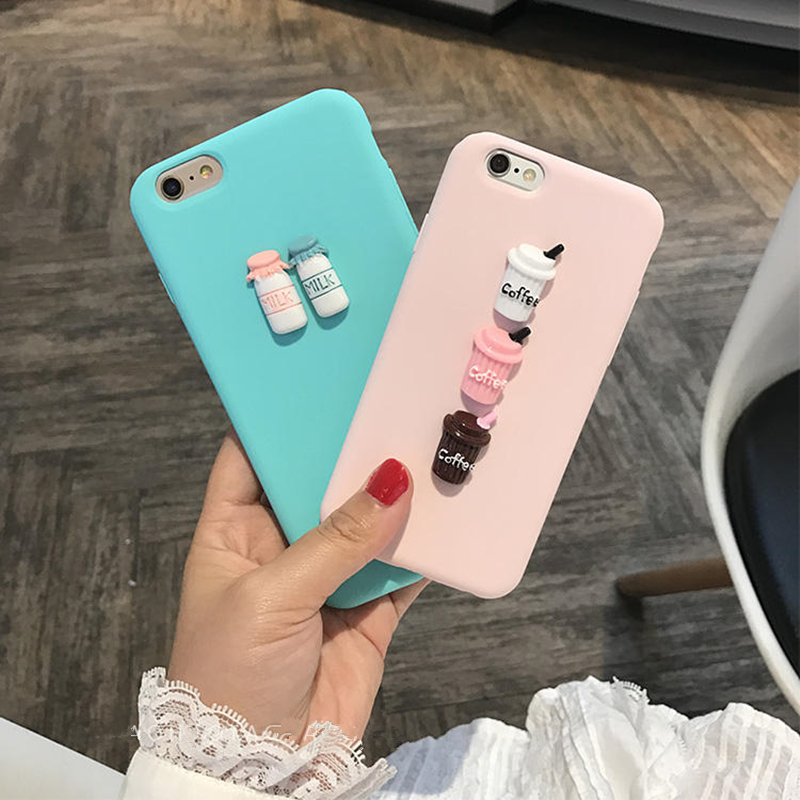 3D Coffee Milk Cute candy silicone TPU phone Case for iphone 5S 6 6s 7 plus 8 X cover for Samsung galaxy S9 S8 A520 S6 S7 Note8