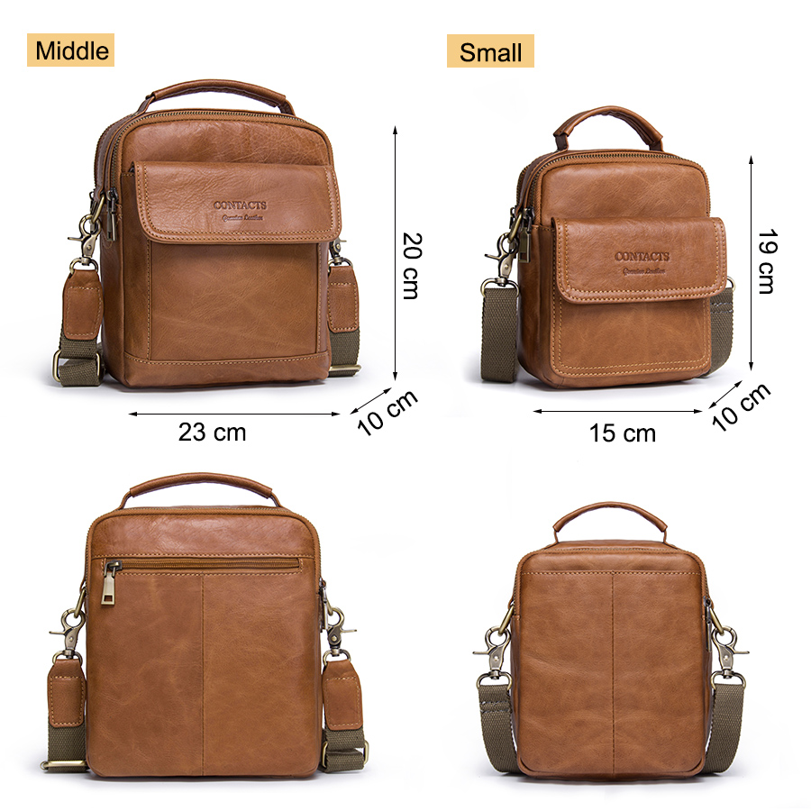 CONTACT'S Genuine Leather Shoulder Bags Fashion Men Messenger Bag Small ipad Male Tote Vintage New Crossbody Bags Men's Handbags 4