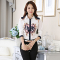 2017 New Arrival Spring Casual Women Chiffon Floral Printed Shirt Office Ladies Slimming Shirts Female Tops Plus Size 2XL 3XL