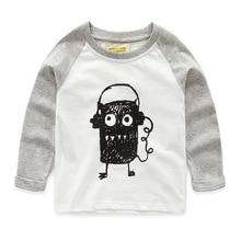 2016 New Next Spring Fall Boys Full Sleeve Kids Tees Cotton Comfortable Cartoon Smart Children'Clothing Graffiti Monster T-Shirt