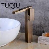 Antique/Black Oil Basin Faucets Waterfall Faucet Bathroom Faucet Single handle Basin Mixer Tap Faucet Brass Sink Wash Crane