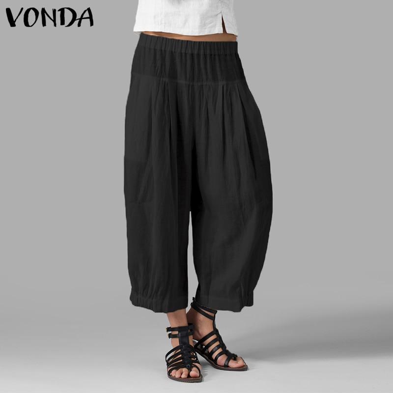 VONDA Women Casual   Wide     Leg     Pants   2019 Autumn Summer High Waist Harem   Pants   Solid Oversized Trousers Plus Size Vintage Bottoms
