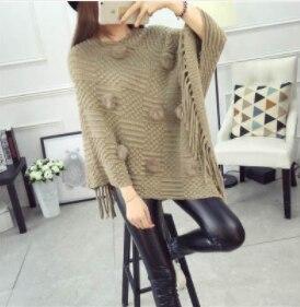 Женский весенне-осенний вязаный свитер, пончо, пальто, однотонный элегантный пуловер, джемпер с неровными кисточками, накидка, накидка для женщин - Цвет: Белый