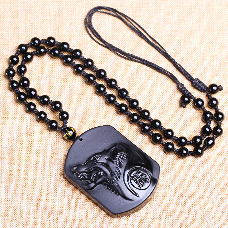 High Grade Black Carving Wolf Head Amulet Pendant Lucky Necklace For Men Obsidian Blessing Jewelry Gift