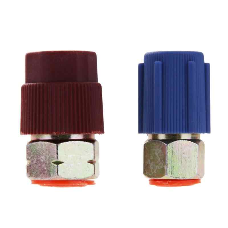 Red Blue Car Retrofit 7/16 to 3/8 Conversion Adapter R12 to R134a High/Low Voltage AC Fitting for Automobiles Air Conditioner