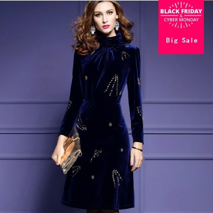 dfaec88b2c1e Detail Feedback Questions about 2019 spring new fashion brand cotton velvet  deading dress European high necked velvet dress Slim was thin dress J11 on  ...