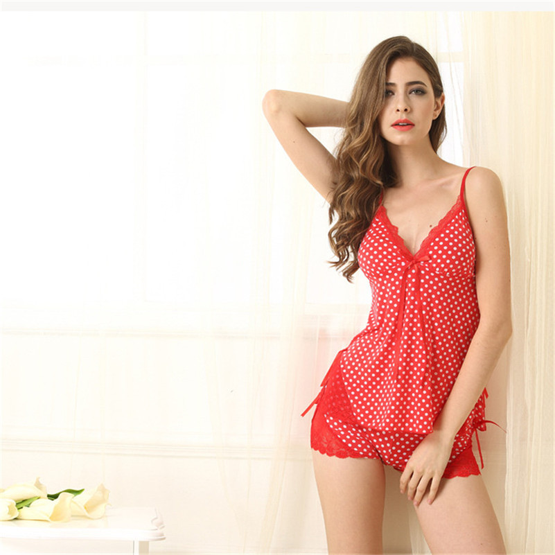 Fasbys Sexy Nightshirt with Lace Sling and Shorts Nightclothes Femme  Printing Fashion Nightgown Sleepwear Women Homewear Red-in Nightgowns    Sleepshirts ... 31dfe0e28