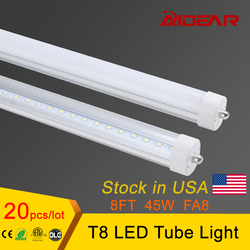 Stock in US High quality Factory Price 8ft T8 Led Tube Light Single Pin Fa8 2400mm Tubes Fedex FreeShipping