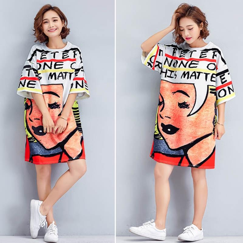 Women's Mid-length Dress Loose Round Collar Shirt Printed Casual Fashion Big Size Dress FS99