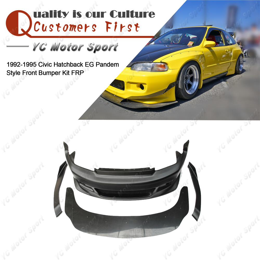 FRP Fiber Glass Body Kit Fit For1992 1995 Civic Hatchback EG PDM Style  Front Bumper Cover with Splitter Lip & Canard-in Bumpers from Automobiles  ...