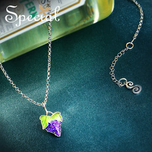 Special Brand Fashion 925 Sterling Silver Fruit Maxi Necklace Enamel Grape Necklaces & Pendants Jewelry Gifts for Women S1718N