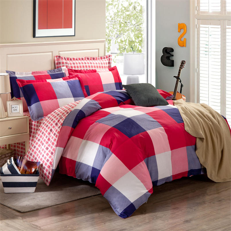 red plaid bedding set cotton duvet cover set bedspread flat sheet with pillow cases bed line