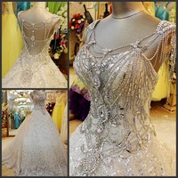 Custom Made Ball Gown Long Train Lace Sequin Crystal Heavy Beaded Luxury Vintage Women Wedding Dresses Wedding Gown WS67
