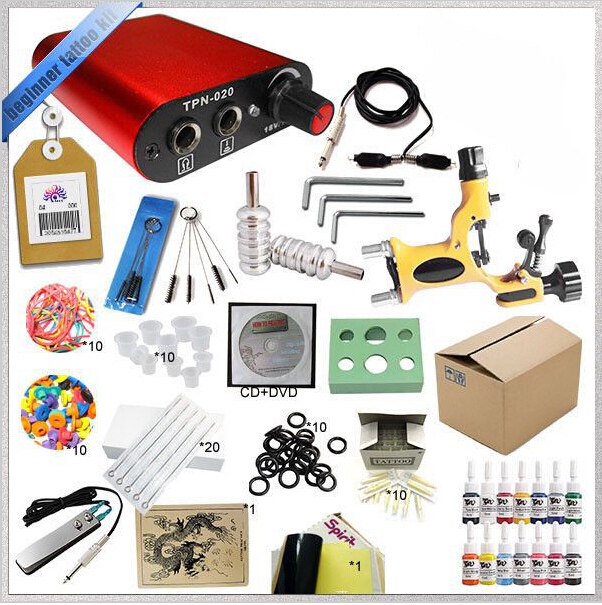 Professional Complete Mini Rotary Tattoo Kit 2 Guns Machine Equipment sets +Ink +Power Supply +Needle + CD for Study Body Art #T