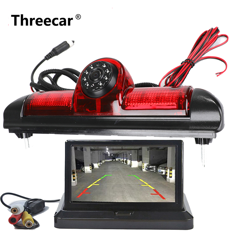 Night Vision Car Brake Light Rear View Camera  For Fiat Ducato X250 Citroen Jumper III Peugeot Boxer III  With 4.3inch Monitor