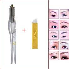 Tattoo Pen PCD Needles Tattoo machine eyebrow Microblading pen permanent makeup with 2pcs blade Microblading tool tebori pen
