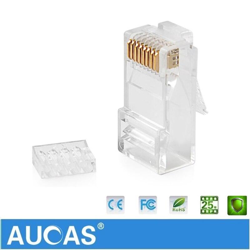 Aucas 5pcs/10pcs rj45 cat6 plug 8P8C computer network cable connector modular plug cat 3 piece suit Network RJ 45 Connector Cat6-in Computer Cables & Connectors from Computer & Office