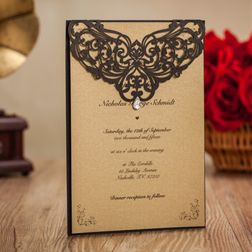 25pcs Laser cut Lace Wedding Invitations Card Pearl Paper Craft ...
