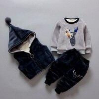 3Pcs 1 Lot 2018 Winter Baby Girls Boys Clothes Sets Children Cotton Padded Cotton Coat Vest