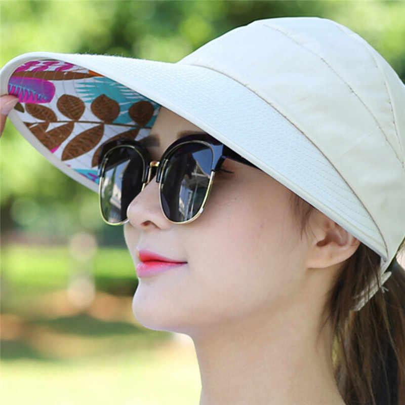 Chapéu da viseira do sol com cabeças grandes chapéu de praia da borda larga 1pc chapéus de sol para o verão pérola packable proteção uv
