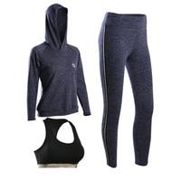 High Quality Fitness Women 3 Pieces Yoga Set Sport Bra Yoga Pants Hoodies Girl Gym Clothes