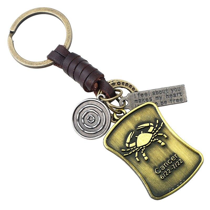12 Constellation Weave Leather Keychain Vintage Bronze Zodiac Sign Pendant Aries/Taurus/Gemini/Cancer/Leo Drop shipping Handmade