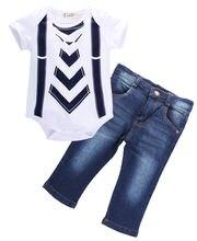 Helen115 Headsome Baby Kids Boy Jeans Belt Printed Short Sleeve Bodysuit+Jeans 2PCS Sets Zero-24M