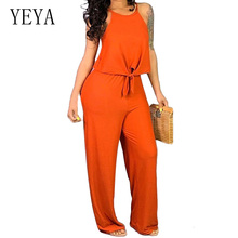 YEYA Vintage Rompers Women Two Piece Orange Jumpsuits Summer Long Pants Wide Legs Club Wear Bodysuit Loose Casual Overalls