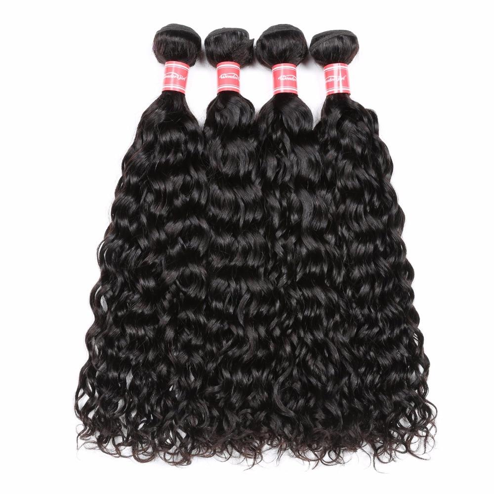 Wonder girl Water Wave Brazilian Hair Weave Bundles 100% Human Hair Extensions Natural Color Remy Hair Bundles 1PC Free Shipping