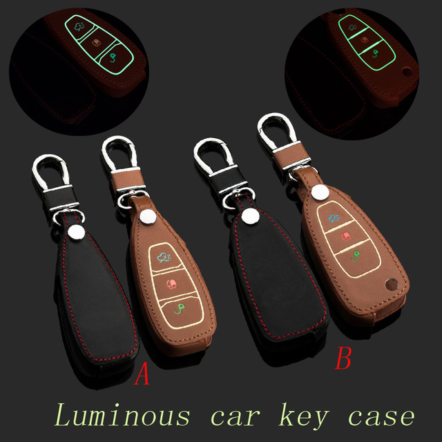 Подлинная Брелок Кожа Ключа Автомобиля Брелок Чехол для Ford Kuga Фокус Mondeo Smart/Складной Автомобиль Брелок Кольцо Держателя авто Аксессуары