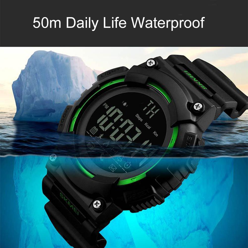 Sports Men Alarm Digital Display Pedometer Mileage Calories Smart Wrist Watch ...
