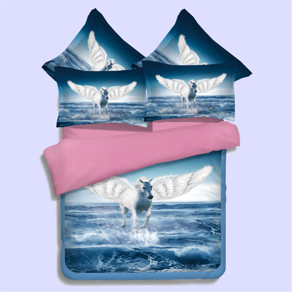 Bed sets for teenage girls blue - Flying Horses 3d Print Quilt Cover Blue Sea Bedding Sets For Girl Kid Teens Twin Full Queen King Sizes Bed In A Bag 3 4pcs Woven