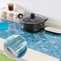 For Kitchen Self Adhesive Wall Stickers Home Decor Waterproof Mosaic Tile PVC Wallpaper Bathroom Glass Decorative