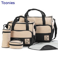 5PCS Set High Quality Multifunction Tote Baby Shoulder Diaper Bags Durable Nappy Bag Mummy Baby Bag