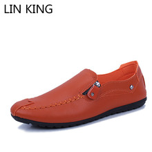 LIN KING Comfortable Sofe Pu Leather Casual Shoes Massage Light Loafers Slip On Casual Moccasin Shoes Solid Lazy Flats Shoes