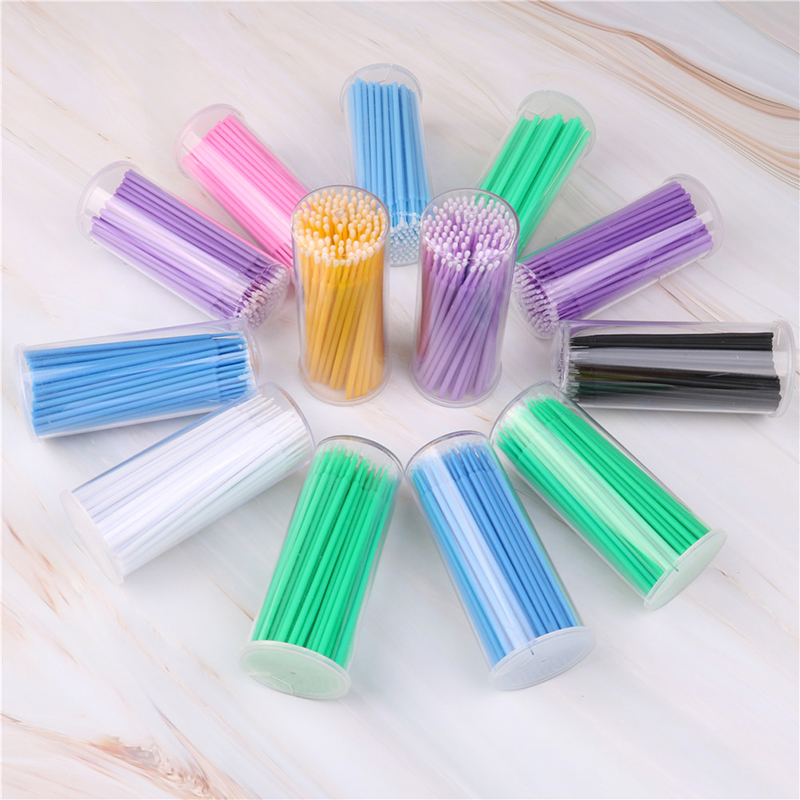 Disposable Makeup Brushes 100PCS/Pack Swab Microbrushes Eyelash Extension Durable Micro Individual Applicators Cotton Swab