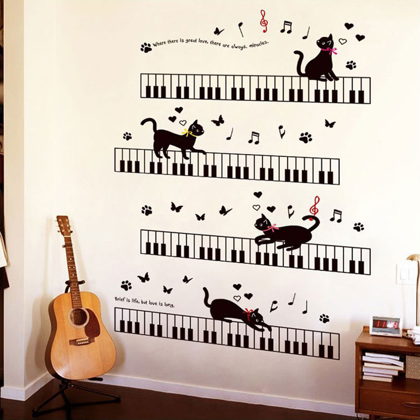 The Cat On The Piano Music Wall Stickers For Kids Rooms Bedroom Art Background Skirting PVC Skirting Butterfly Wall Decor