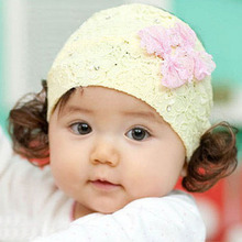 baby girl summer hat lace hair headband accessories cap Korean Lace Bow Headband wig with children female baby hair wholesale