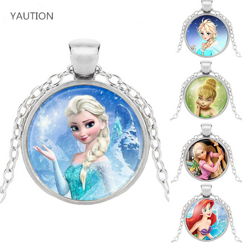 Brand Ladies The Long Chain Jewelry Necklace Crystal Cabochon Princess Elsa Anna Snow Queen Pendant Necklace For Girls