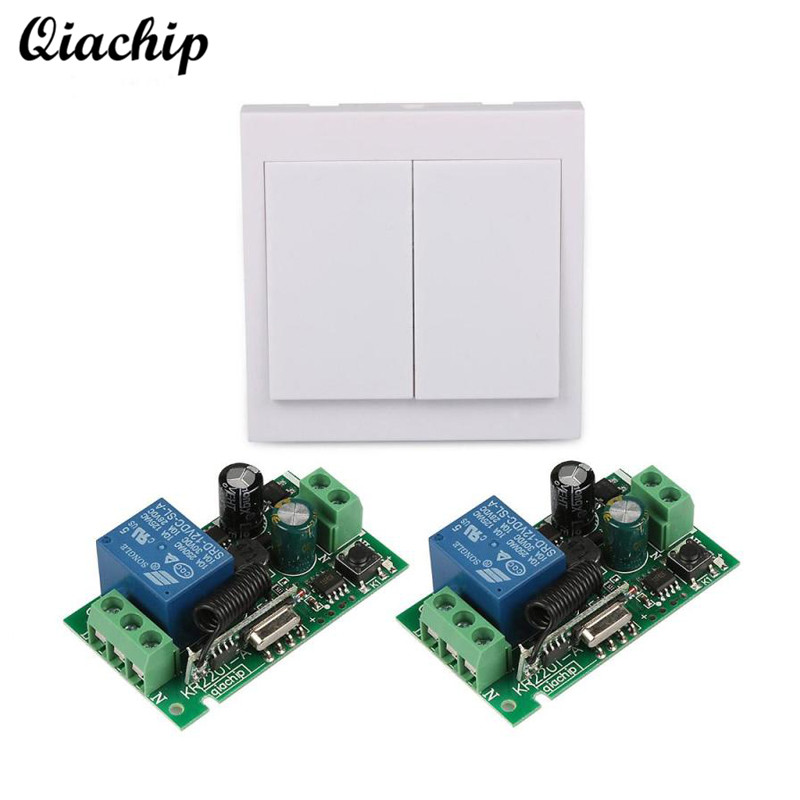 QIACHIP 433 Mhz RF 86 Wall Panel Remote Transmitter and AC 110V 220V 1 CH Remote Control Switch Receiver For Hall Bedroom Lights mini stable 10a 220v 1ch rf remote control switch system for led bulb light strips receiver 86 wall panel transmitter