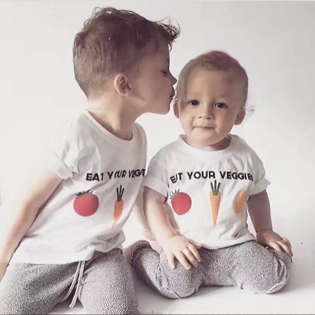 2017 Meninas Do Bebê Verão T-shirt T-shirt Impressão Fruta Vegetal Sólida Bonito Crianças Meninos T Shirt Roupas Infantil Criança Topo