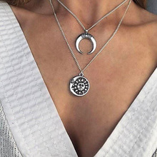 Fashion creative summer exquisite versatile retro lady simple sun angle moon multi-layer necklace ladies fashion jewelry necklac