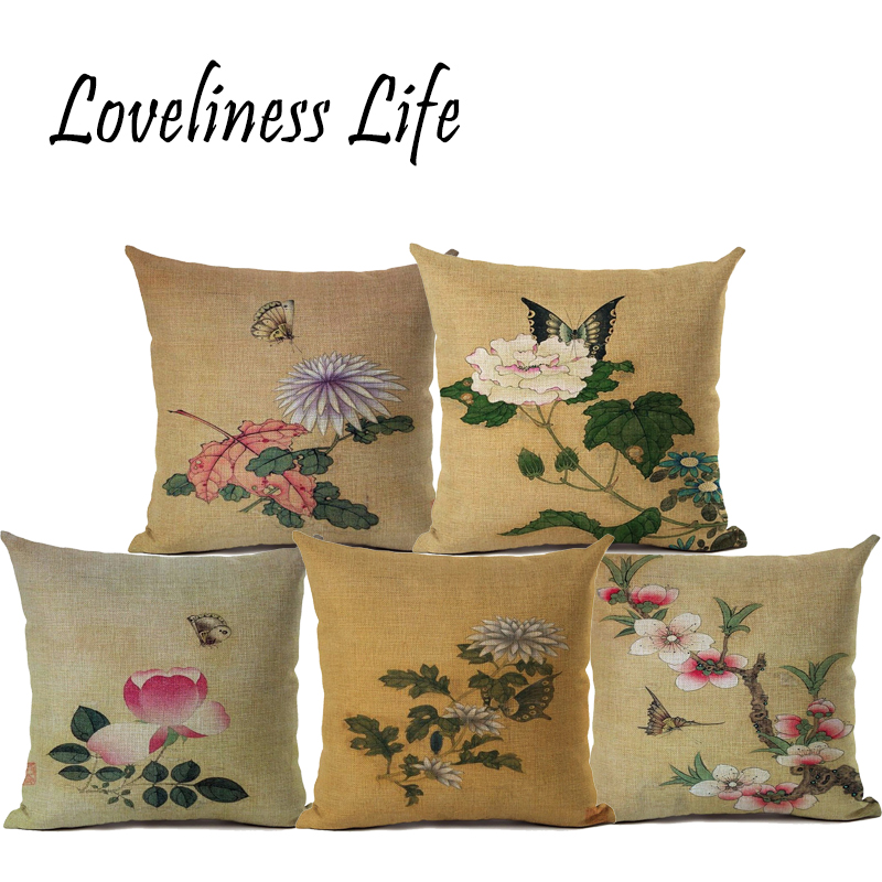 Retro Nordic Customized Cushion Covers Butterfly Flower Custom Pillows Cover Geometry Baby Sofa Decoration Gift Cojines