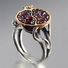 Vintage Round Gold Color Natural Red Garnet Ring Crystal Rhinestone Stone Leaf Bague Pomegranate Jewelry Rings For Women(China)