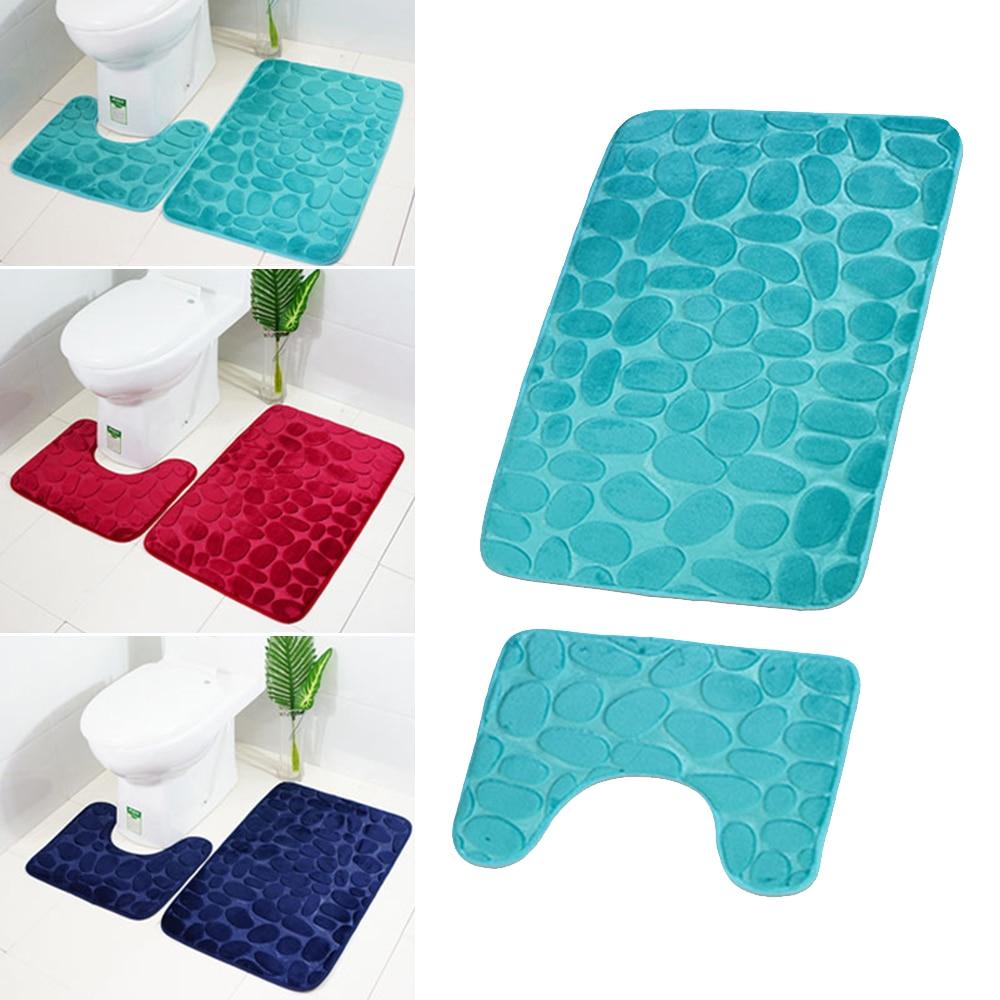 Bath Mats Didihou 2pcs/set Solid Color Non-slip Bathroom Carpet Rugs 3d Cobblestone Floor Bath Mats Toilet Carpet Set For Bathroom Elegant Appearance Home & Garden