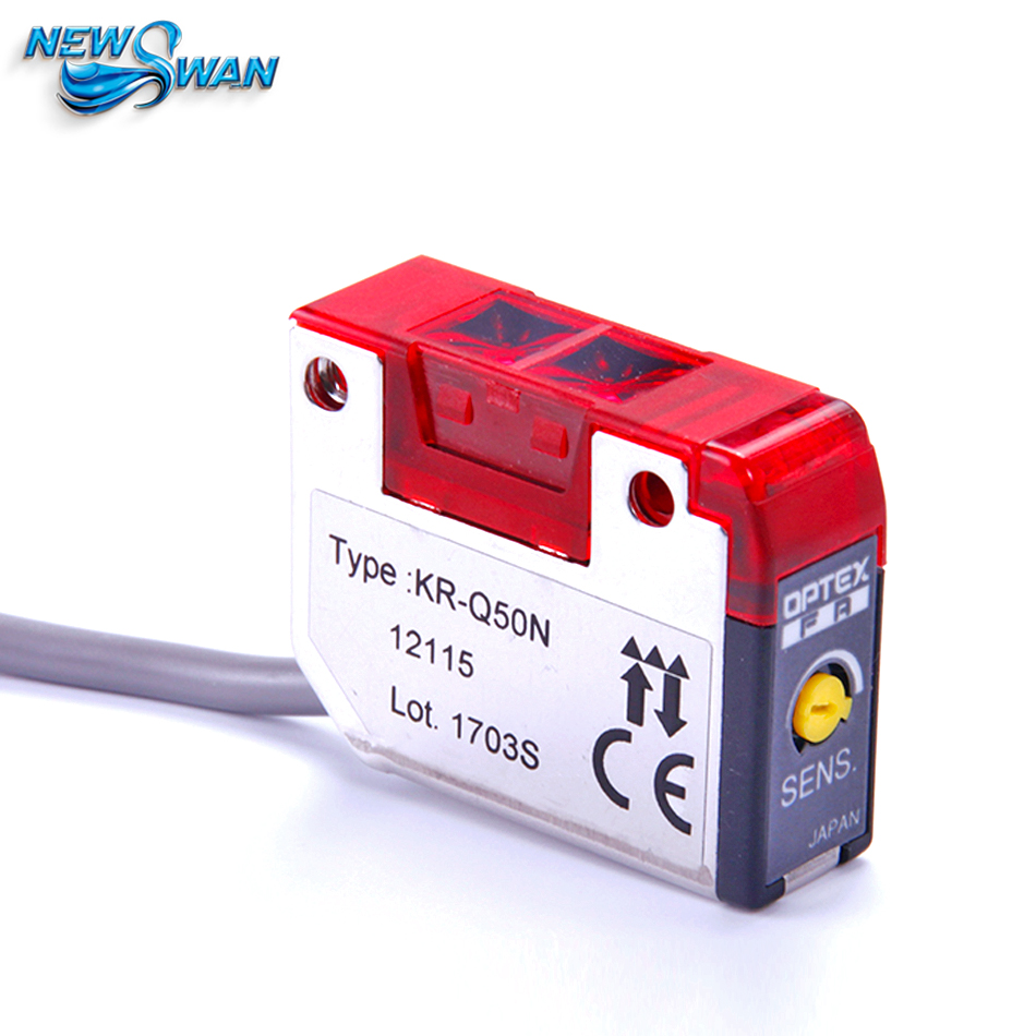 DC10-30V Cable Type Photoelectric Sensor KR-Q50N Mirror Reflection the authentic original japan pushi optex kr q150nw kr q50nwt kr q50n