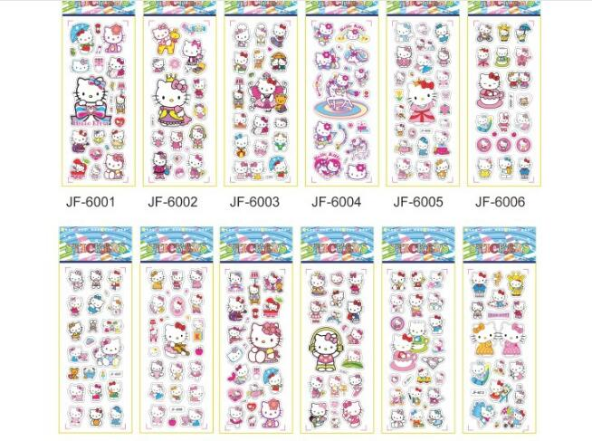 Mix 10sheet/lot Bubble Stickers 3D Cartoon Hello Kitty Classic Action Figure Toys Scrapbook For Kids Children Gift