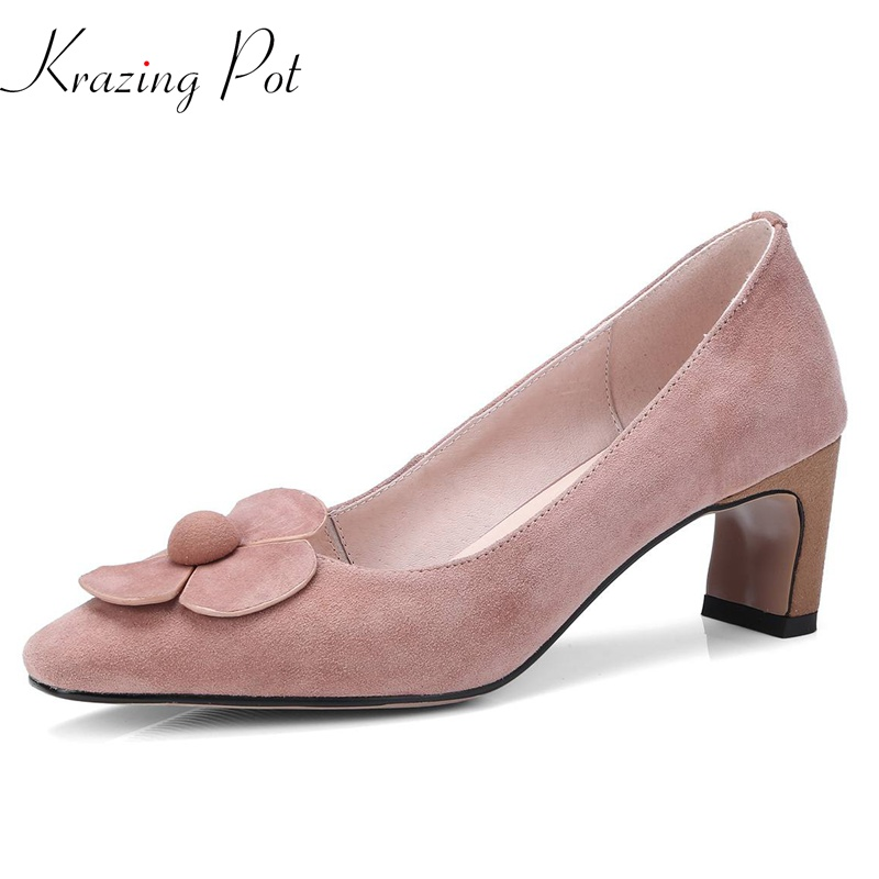 krazing Pot 2018 sheep suede flowers women pumps thick high heels simple square toe solid pink color wedding shallow shoes L13 krazing pot shallow sheep suede metal buckle thick high heels pointed toe pumps princess style solid office lady work shoes l05