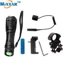 Nzk20 CREE XM-L T6 9000LM Lantern LED tactical Flashlights Linterna Torch Light Hunting Flash Light with Charger Gun Mount