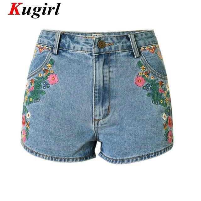 Bordado de flores Pantalones Cortos Bohemia jeans Pantalones Cortos para  mujeres pantalones vaqueros de cintura alta 78c90463466b9